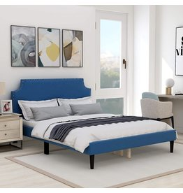 AUFANK Upholstered Full Platform Bed Frame with Scalloped Tufted Headboard,Strong Wood Slat Support,Blue