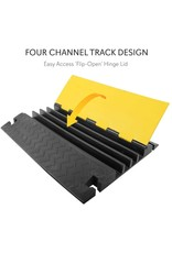 Pyle Hose & Cable Protection Ramp - Extra Heavy Duty Four Channel Extra Large Opening for Water Hose Car Truck Pedestrian Ramp Supports 55000 Lbs, Flip-Open Cover, 31.5 x 23.2 x 3.14 - Pyle PCBLCO108