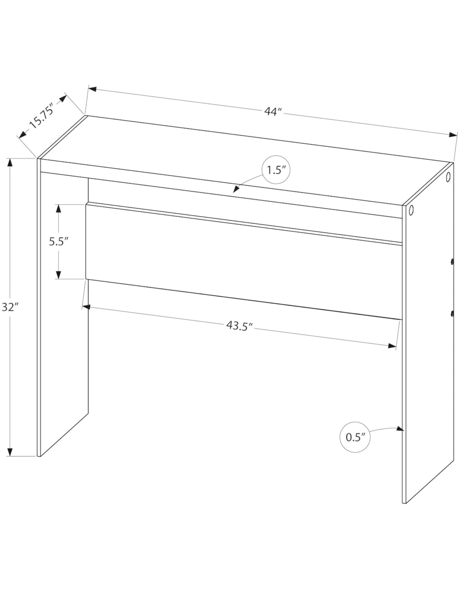 """Monarch Specialties Monarch specialties , Console Sofa Table, Tempered Glass, Glossy White, 44""""L"""