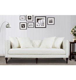 Jennifer Taylor Home Jennifer Taylor Home Stanbury Collection Contemporary Hand Tufted with Nailhead Trim Upholstered Tuxedo 3 Seat Sofa, Star White