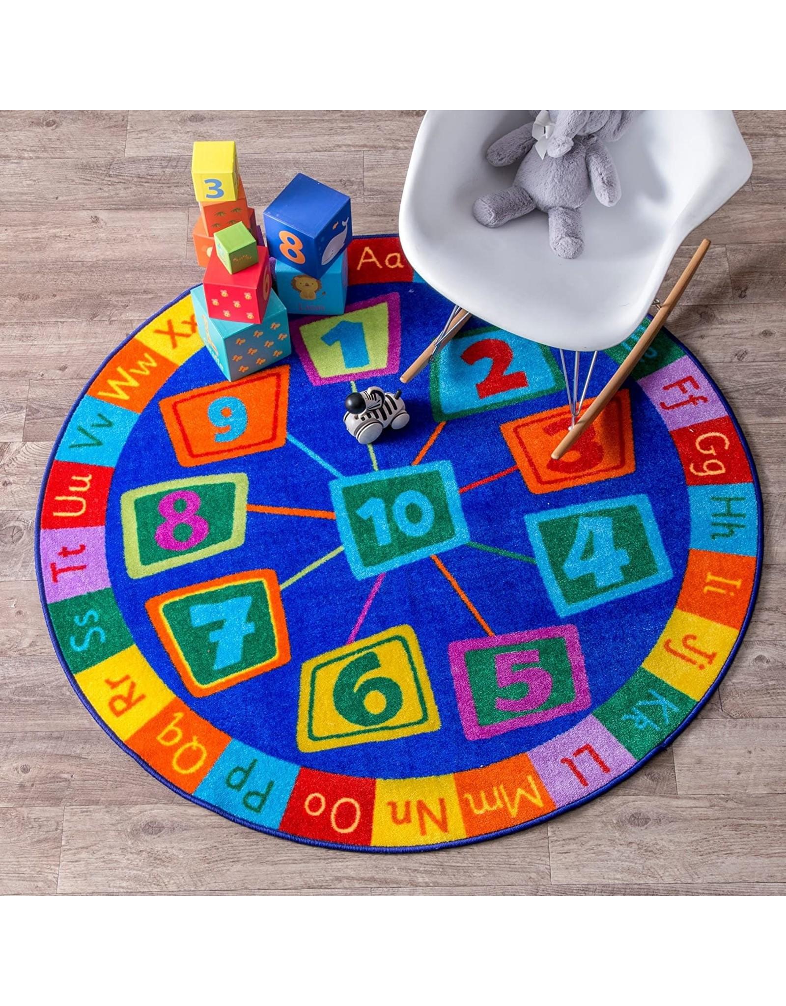 nuLOOM nuLOOM Number Circles Kids Round Rug, 8' Round, Blue