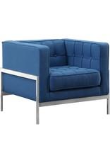 Armen Living Andre Contemporary Sofa Chair, Blue Fabric
