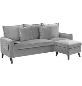 Casa AndreaMilano Casa AndreaMilano Classic Living Room Velvet Sectional Sofa, L-Shape Couch with Pocket Organizer, Silver