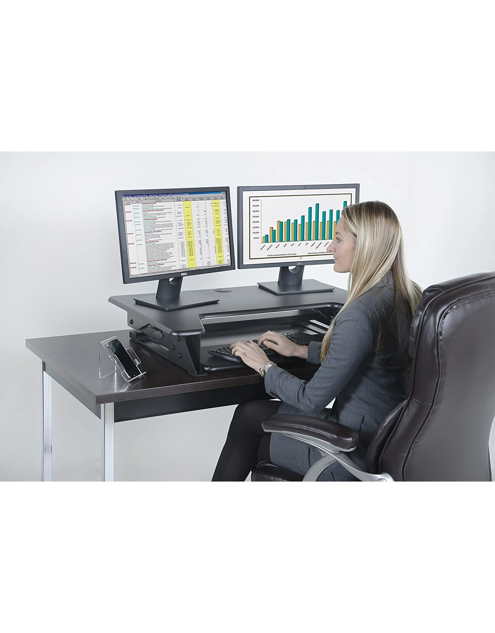 Kantek Kantek Sit to Stand Desktop Riser, Black (STS900)