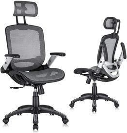GABRYLLY Gabrylly Ergonomic Mesh Office Chair, High Back Desk Chair - Adjustable Headrest with Flip-Up Arms, Tilt Function, Lumbar Support and PU Wheels, Swivel Computer Task Chair, Grey