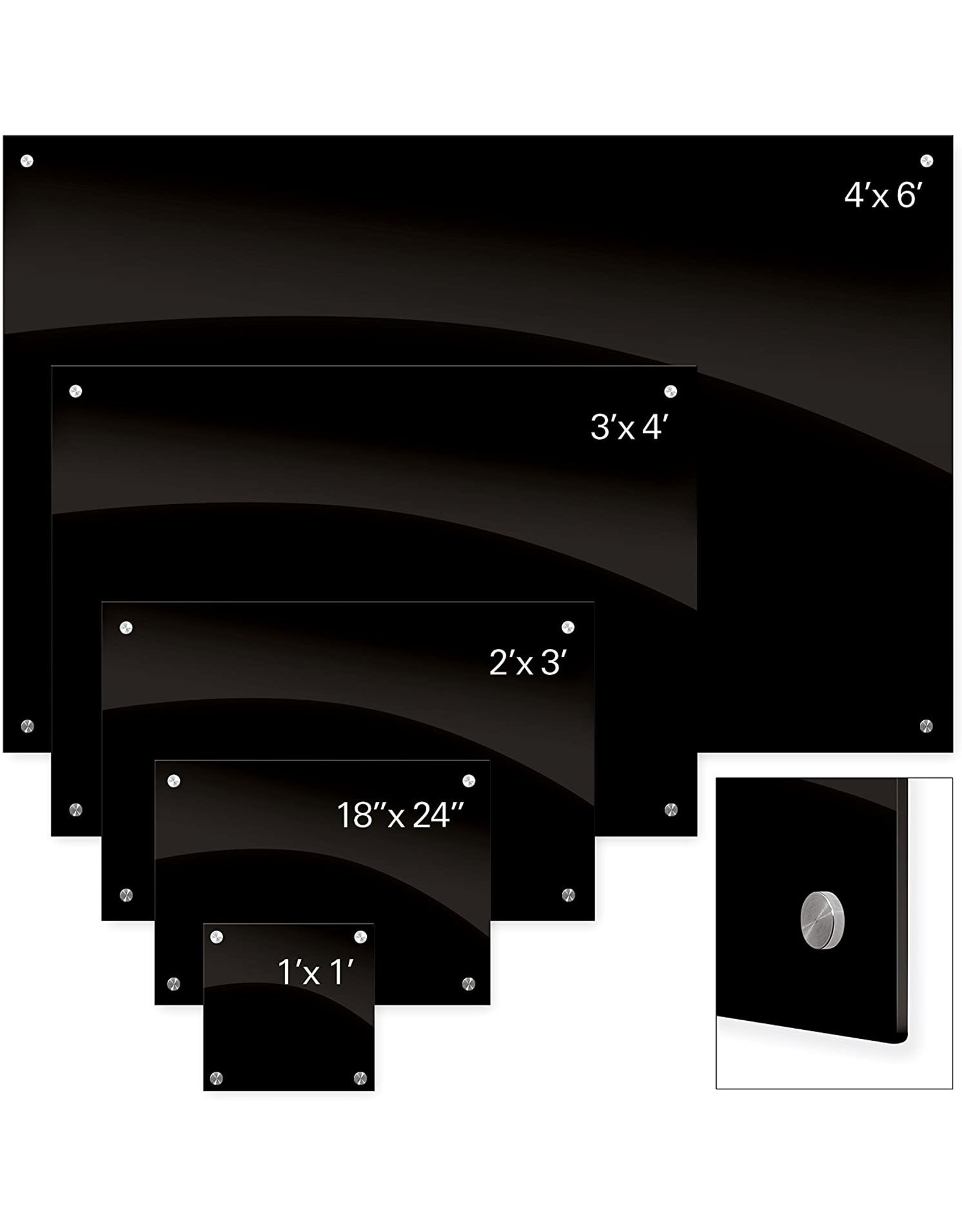 Best-Rite Best-Rite 84074 Enlighten Glass Dry Erase Whiteboard, Black 1/8 inch Tempered Glass, 3 x 4 Feet