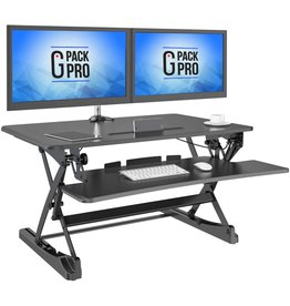 """G-Pack Pro G-PACK PRO - Desktop Standing Desk Converter   Sit-To-Stand Work Desk Riser   Adjustable from 5.7"""" to 19.7""""   Fits Dual Monitor -Removable Keyboard Tray   Ergonomically Designed for Multipurpose Works"""