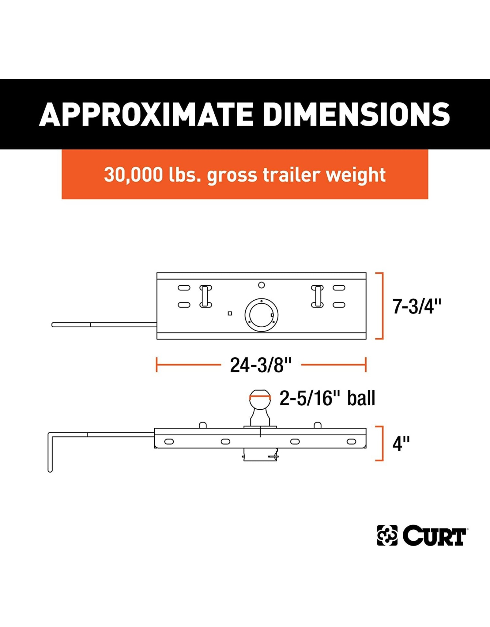 CURT CURT 60607 Double Lock Gooseneck Hitch with 2-5/16-Inch Flip-and-Store Ball, 30,000 lbs