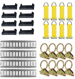 DC Cargo Mall E-Track Tie-Down KIT! 4 Galvanized 8' Horizontal E Track Rails, 8 End Caps, 8 Rope Tie-Offs, 8 O Rings  Trailer Accessories, Cargo Securement