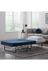 LUCID LUCID Rollaway Folding Guest Bed with 4 Inch Memory Foam Mattress - Rolling Cot - Easy Storage - Twin