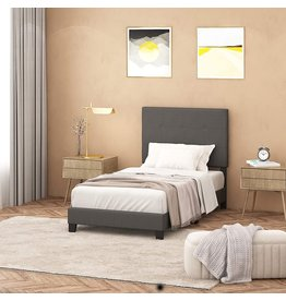 Furinno FURINNO Laval Button Tufted Upholstered Platform Bed - Twin (Stone)