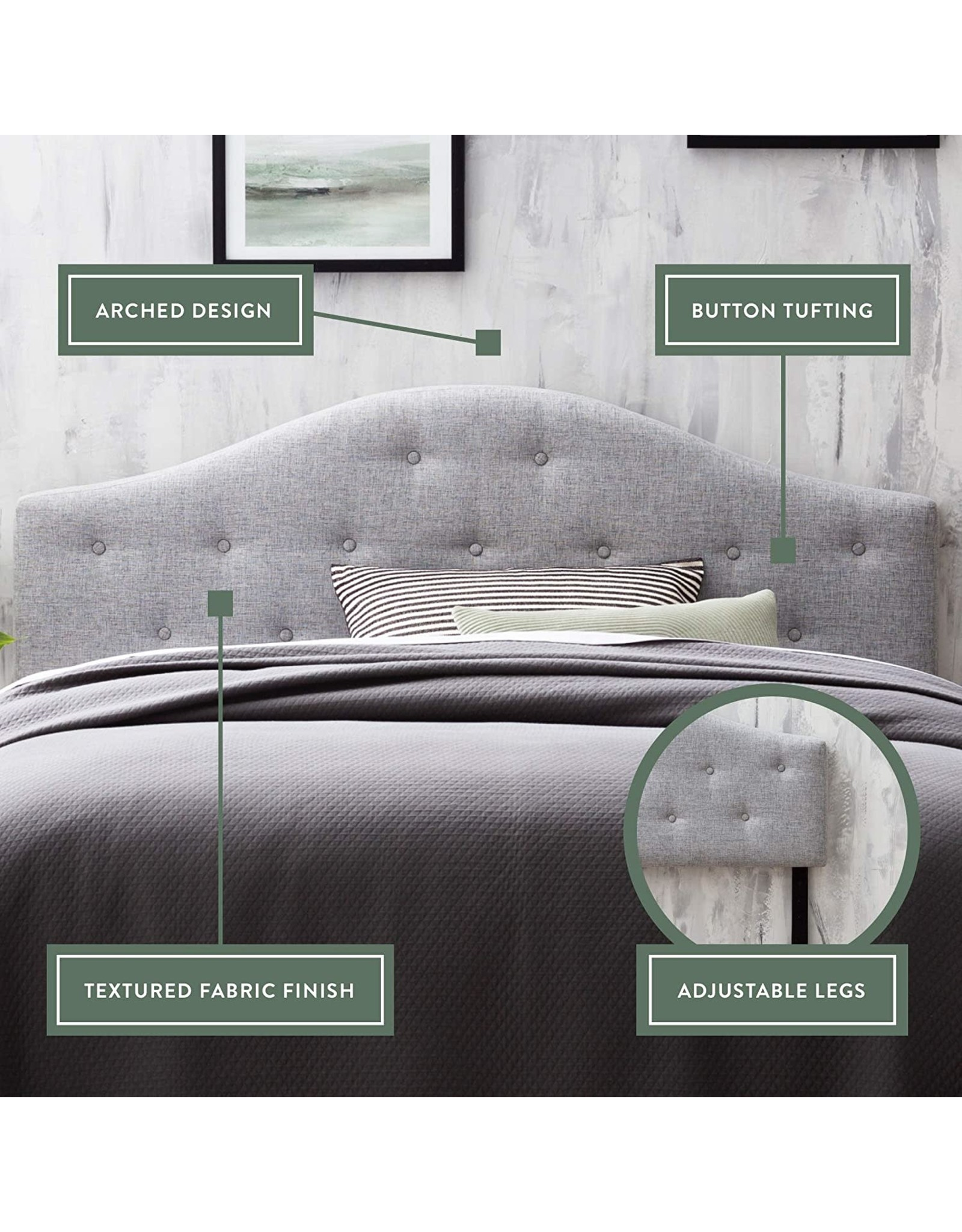 Edenbrook Edenbrook Legrand Upholstered Arched Headboard with Button Tufting, King/California King, Pebble