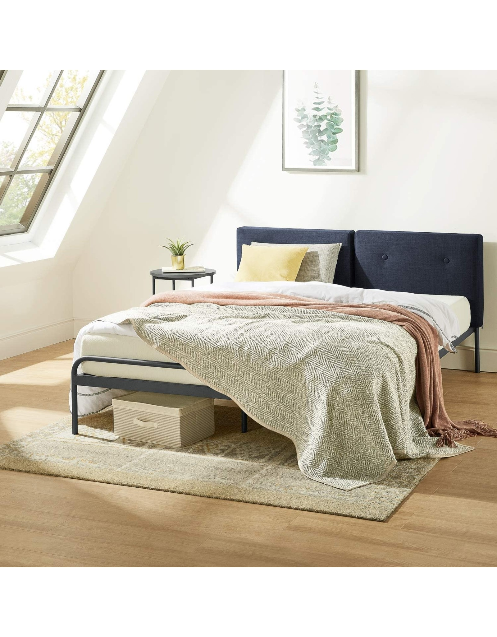 Mellow Mellow Maggie Metal Platform Bed with Upholstered Cushion Headboard, Steel Slats, Easy Assembly, Navy, King (CHFM-GRK)