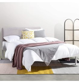 Mellow Mellow KERT - Metal Platform Bed with Fabric Headboard, Easy Assembly, Rounded Legs and Corners, King, Oak Grey (ML-FM-KE-OGK)