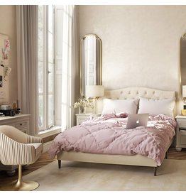Right2Home Right2Home Arched, Diamond Tufted Upholstered Full Bed in Beige Platform