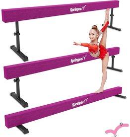 Springee Springee 8ft Adjustable Balance Beam - Gymnastics Equipment for Home - Solid Suede Balance Beam