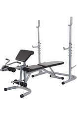 BalanceFrom BalanceFrom RS 60 Multifunctional Workout Station Adjustable Olympic Workout Bench with Squat Rack, Leg Extension, Preacher Curl, and Weight Storage, 800-Pound Capacity, Gray