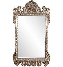 "Howard Elliott Collection Howard Elliott Marquette Antique Oversized Mirror, Leaning Wall Ornate Mirror, Full Length, Silver Leaf, 49"" x 84"" x 3"""