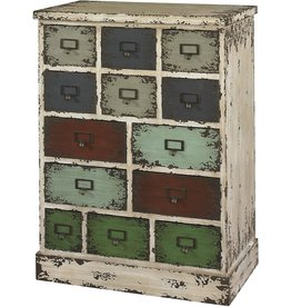Powell Company Powell Company 990-333 Parcel 13-Drawer Cabinet Distressed White, 13.75 X 23.8 X 31.88