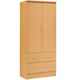 HODEDAH IMPORT Hodedah Two Door Wardrobe, with Two Drawers, and Hanging Rod, Beech