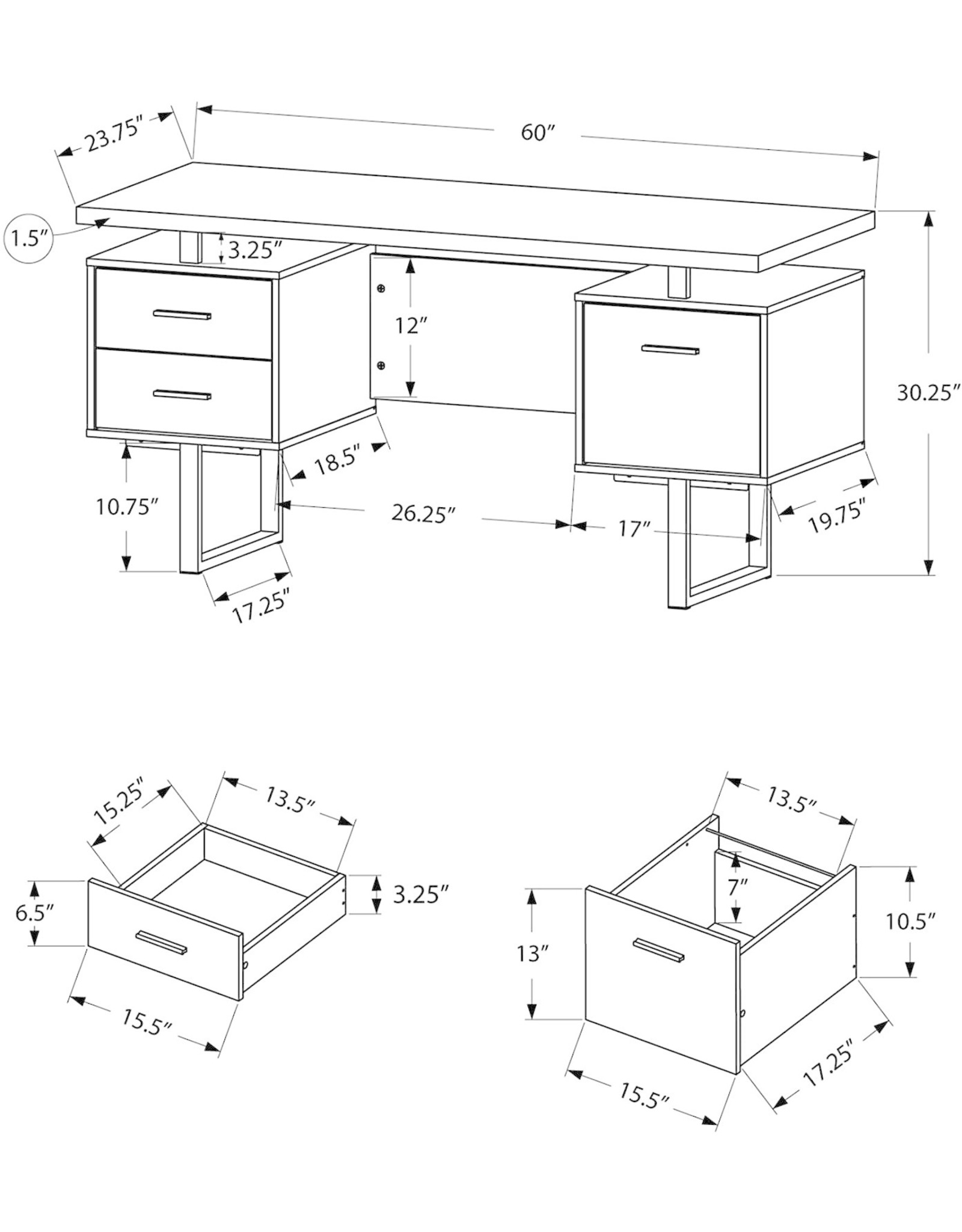 Monarch Specialties Monarch Specialties White Hollow-Core/Silver Metal Office Desk, 60-Inch