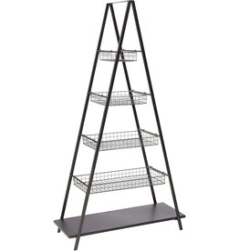 Creative Co-op Creative Co-Op Metal Ladder Inspired Storage 5-Tier with Four Baskets, Brown
