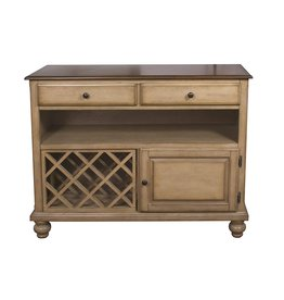 Sunset Trading Sunset Trading DLU-BR-SER-PW Brook Buffet Server, Two Drawers  Open Shelf  , Distressed light creamy wheat with warm pecan top