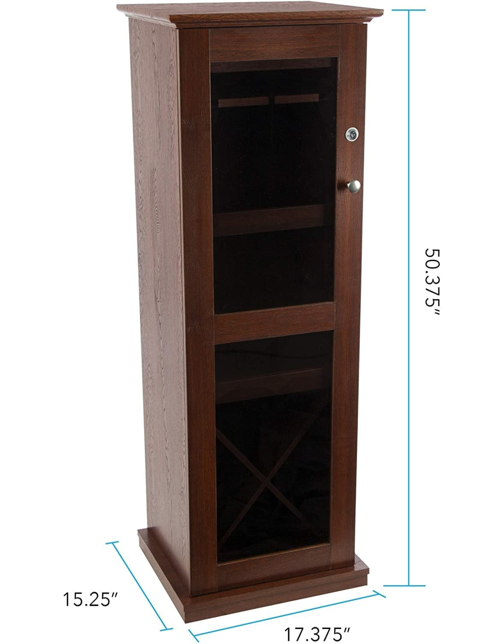Atlantic Atlantic Herrin Locking Bar Cabinet - Store 16 Wine Bottles, Liquor Shelf, 9 Wine Glasses and More PN38408116 in Textured Chestnut