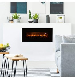 Lavish Home 50Ã' Electric Fireplace - Bottom Vent for Wall Mounting - Realistic LED Flame - Faux Log Media, Remote Control and Timer by Lavish Home (Black)
