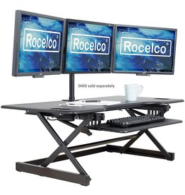 """Rocelco Rocelco 46"""" Large Height Adjustable Standing Desk Converter, Quick Sit Standup Triple Monitor Riser, Gas Spring Assist Computer Workstation, Retractable Keyboard Tray, (R DADRB-46), Black"""