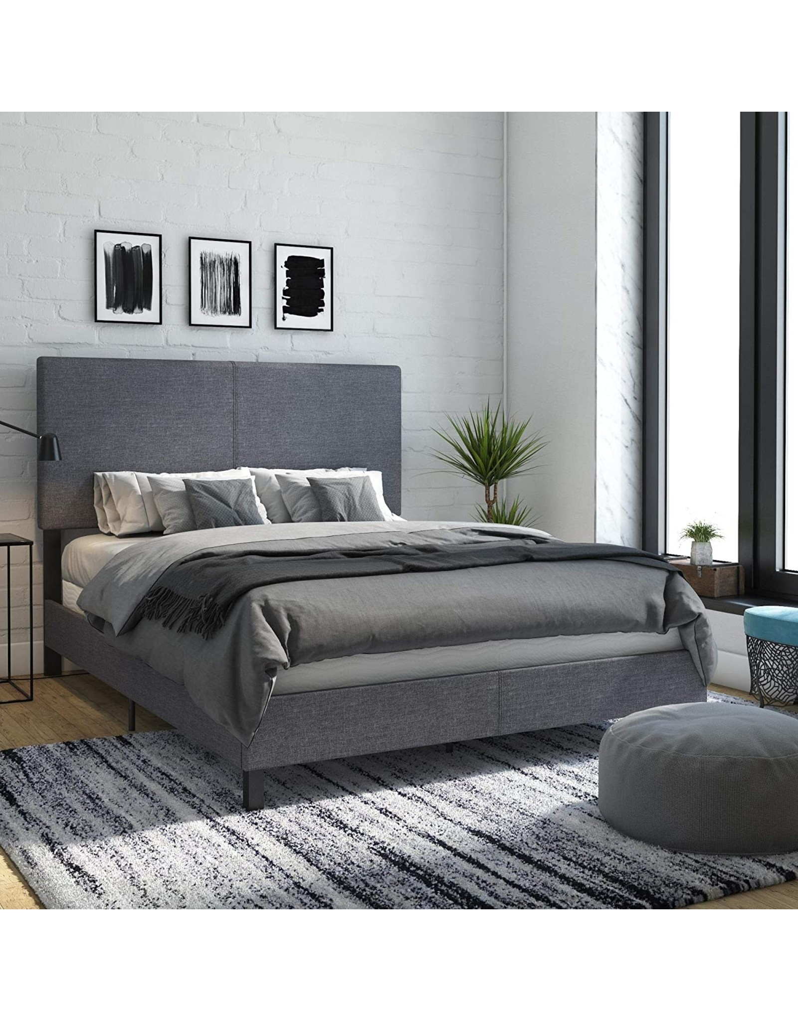 DHP DHP Janford Upholstered Bed with Chic Design  Queen  Grey Linen
