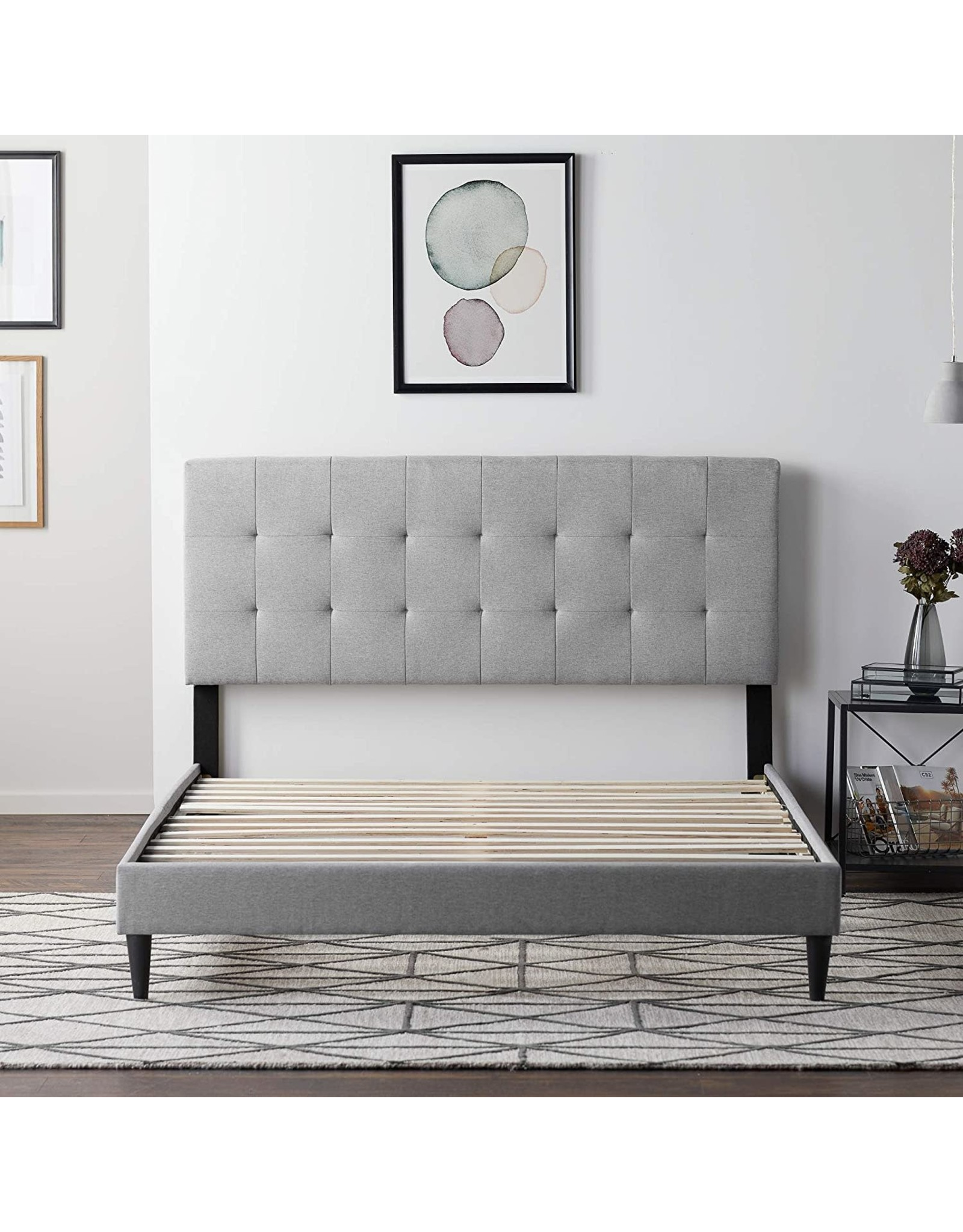 LUCID LUCID Upholstered Bed with Square Tufted Headboard -Linen Inspired Fabric –Sturdy Wood Build –No Box Spring Required Platform, Queen, Stone