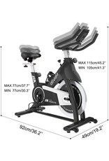 ATIVAFIT Ativafit Exercise Bike Stationary Indoor Cycling Bike 35 lbs Flywheel Belt Drive Workout Bicycle Training LCD Monitor / Ipad Mount / Adjustable Handlebar for Home Cardio Workout (Black + White)