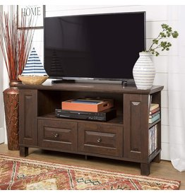 """Walker Edison Walker Edison Wood Universal Stand with Storage Drawers for TV's up to 50"""" Flat Screen Living Room Entertainment Center, 44 Inch, Traditional Brown"""
