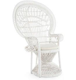 Kouboo KOUBOO Pecock Grand Peacock Chair in Rattan with Seat Cushion, White, Large
