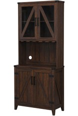 Home Source Bar Cabinet with Upper Glass Cabinet (Mahogany)