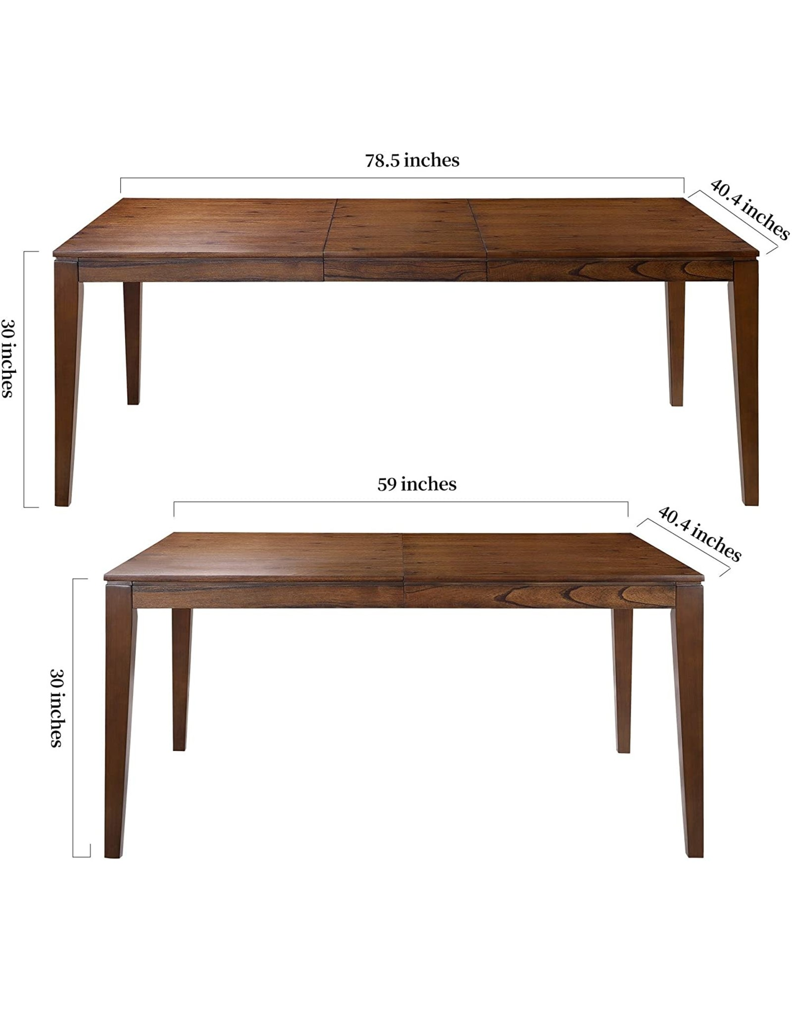 LALUZ LALUZ Modern Kitchen Table for 8 People, Extendable Rectangular Heavy Duty Solid Wood Furniture for Dining Room, Brown