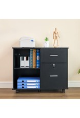 GreenForest GreenForest 2 Drawers File Cabinet Wooden Lateral File Cabinet with Open Storage Shelves Printer Stand Rolling File Cabinets with Lock for Letter Size or A4 Hanging File Folders, Black