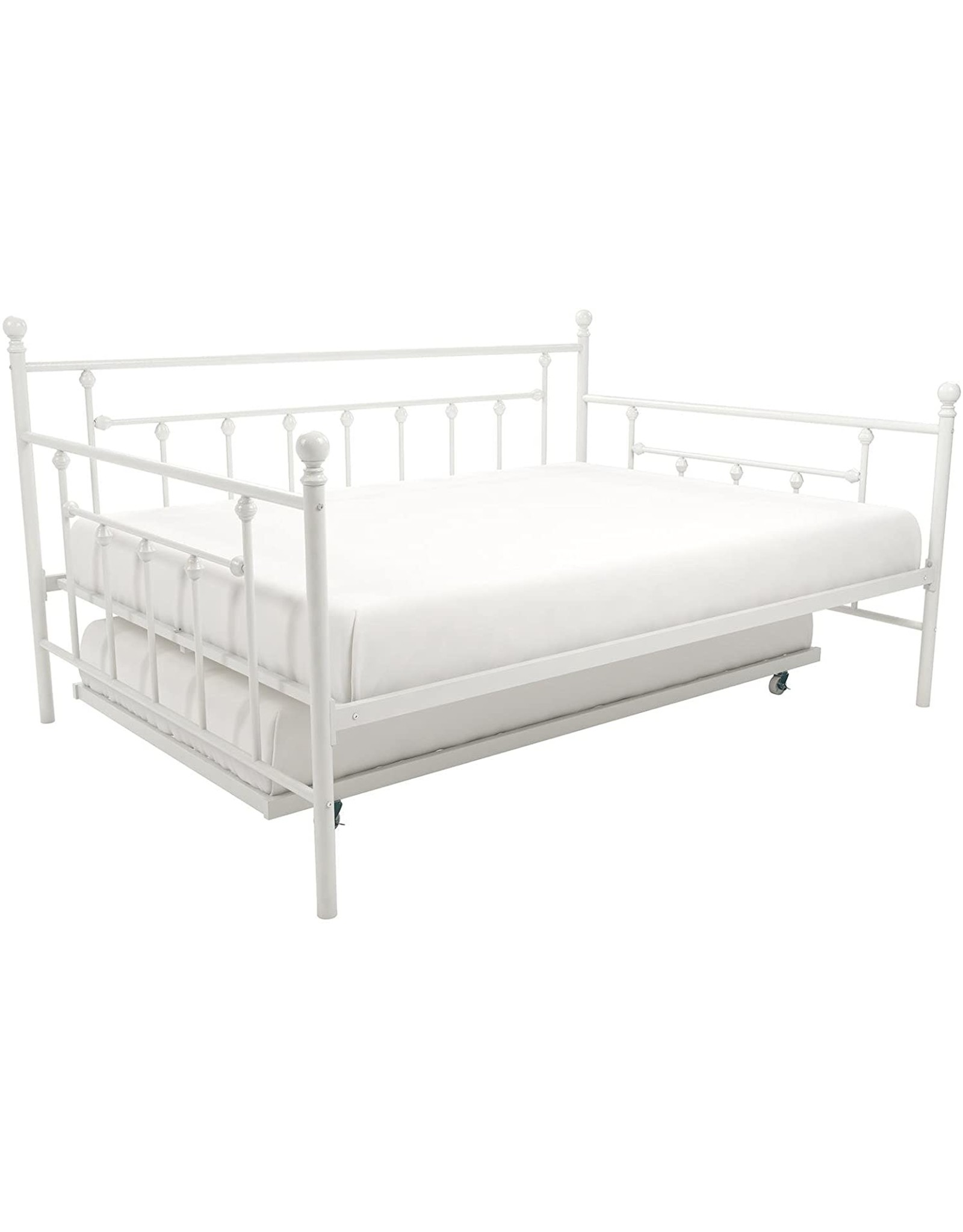DHP DHP Manila Metal Full Size Daybed and Twin Size Trundle (White)