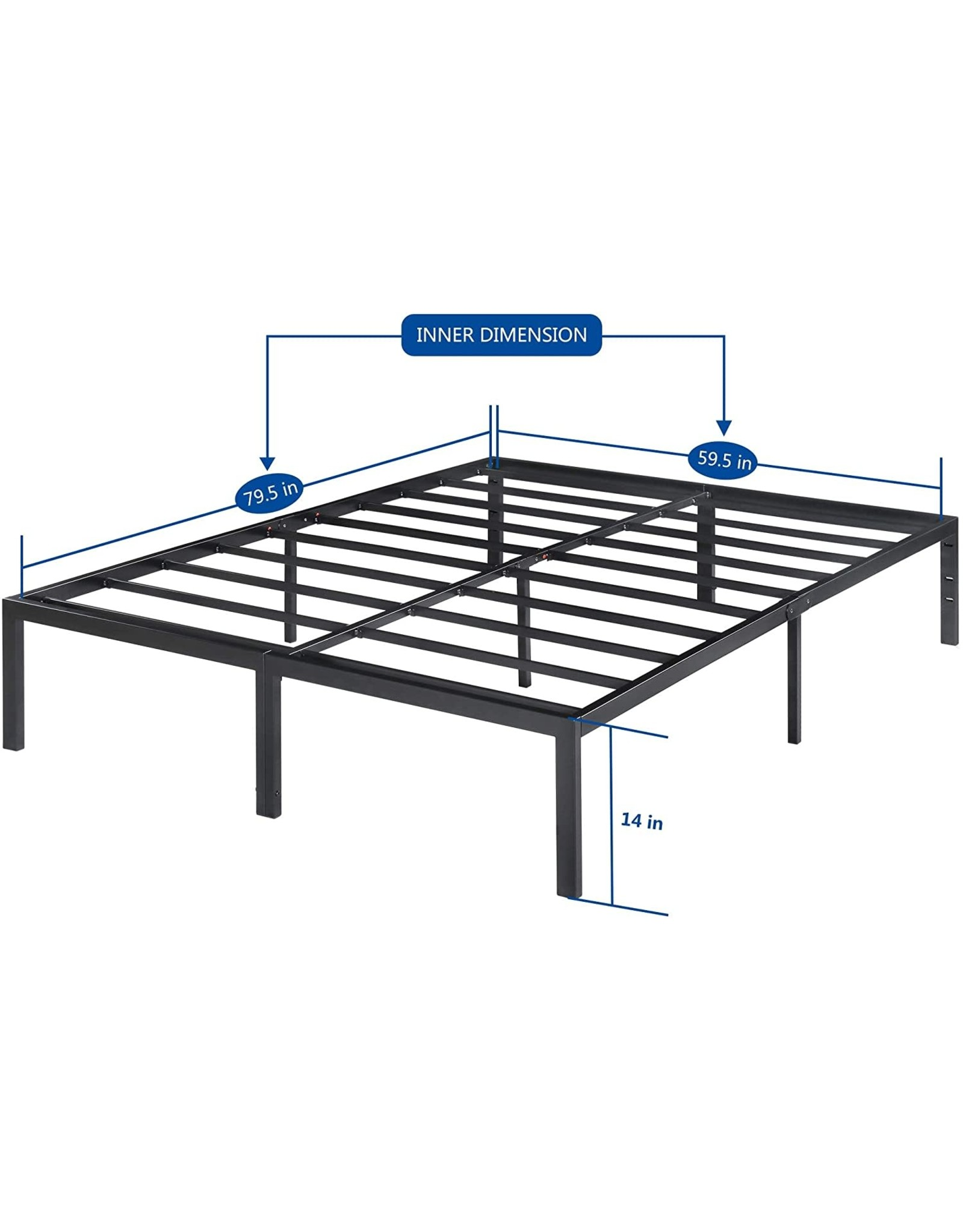 Olee Sleep Olee Sleep 14 Inch Heavy Duty Steel Slat/ Anti-slip Support/ Easy Assembly/ Mattress Foundation/ Bed Frame/ Noise Free/ No Box Spring Needed, Queen