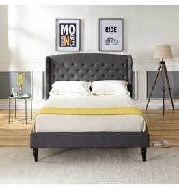 Classic Brands Classic Brands Brighton Upholstered Platform Bed  Headboard and Metal Frame with Wood Slat Support, Queen, Grey