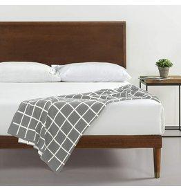Zinus Zinus Deluxe Mid-Century Wood Platform Bed with Adjustable height Headboard, no Box Spring needed, Full