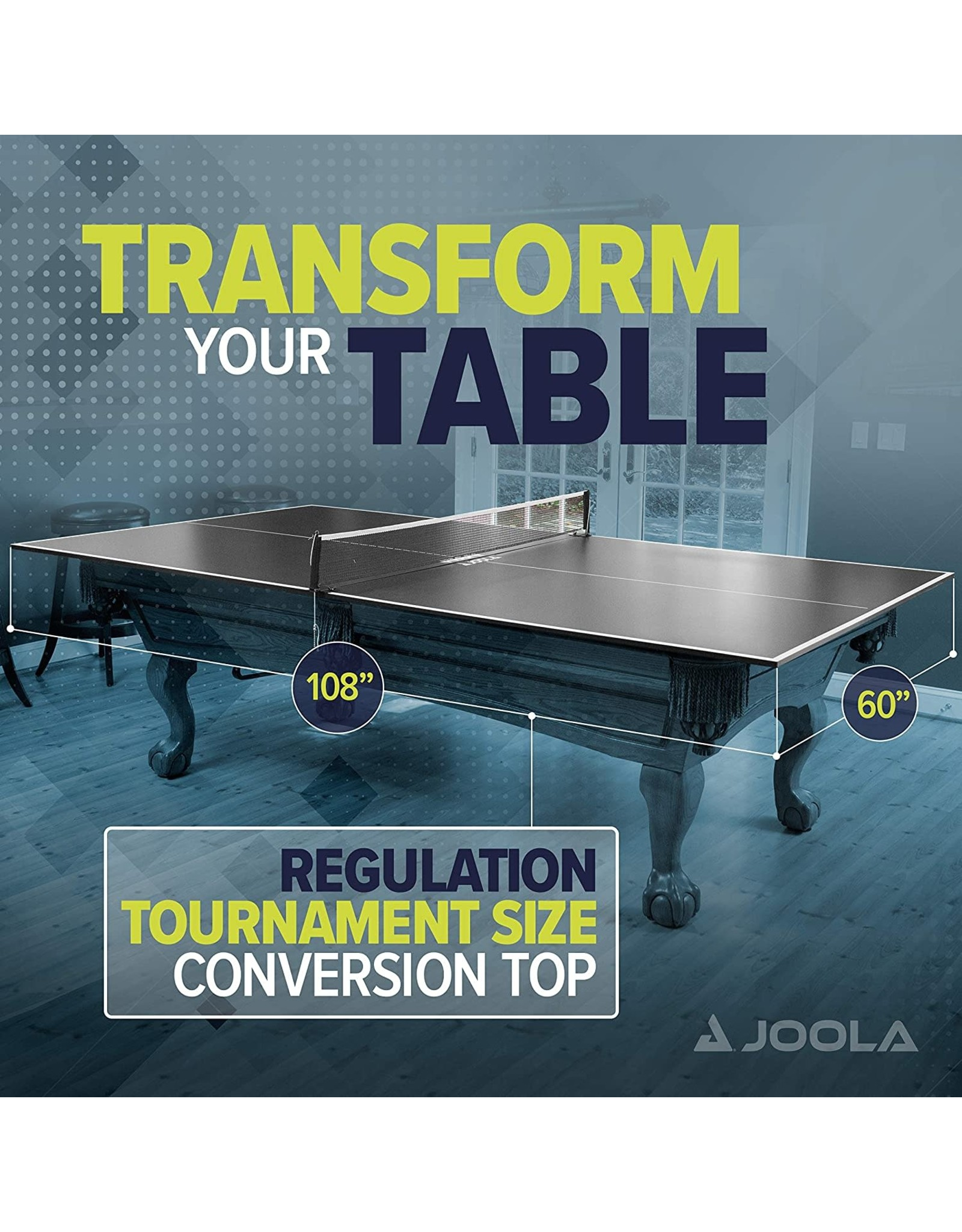 JOOLA JOOLA Regulation Table Tennis Conversion Top with Foam Backing and Net Set - Full Sized MDF Ping Pong Table Top for Pool Table - Quick and Easy Assembly - Foam Backing to Protect Billiard Table, Full Foam Backing