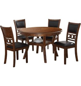 New Classic FURNITURE New Classic Furniture Gia 5-Piece Round Dining Table Set, 47-Inch, Brown