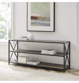 Walker Edison Walker Edison Furniture 2 Shelf Industrial Wood Metal Bookcase Bookshelf Storage, 60 Inch, Grey