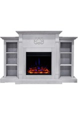CAMBRIDGE CAMBRIDGE Sanoma Heater with 72-in. White Mantel, Bookshelves, Enhanced Multi-Color Log Display, and Remote, CAM7233-1WHTLG3 Electric Fireplace