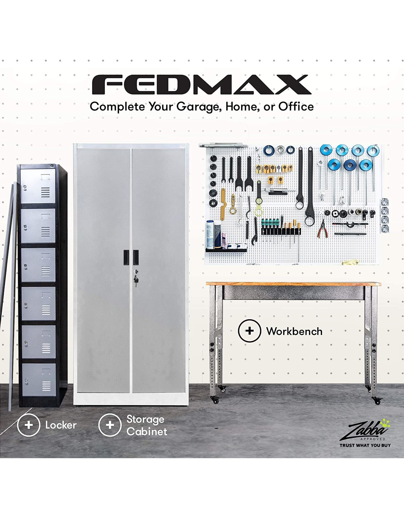 """Fedmax Fedmax Metal Storage Cabinet - 71"""" Tall w/Locking Doors & Adjustable Shelves - Steel Utility Cabinets for Garage, Office, Classroom, Kitchen Pantry -70.86"""" L x 31.5"""" W x 15.75"""" D  Black"""