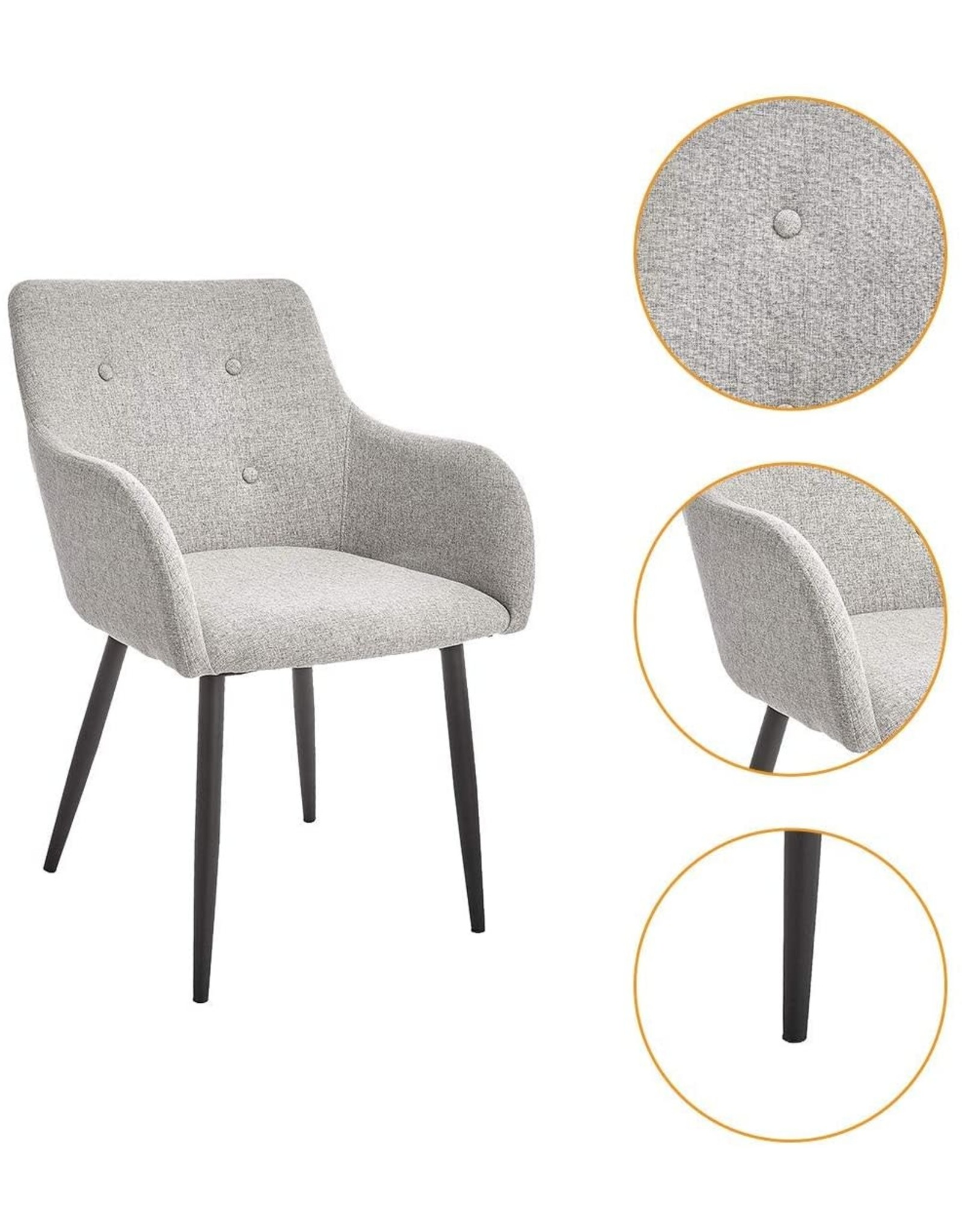 CangLong CangLong Leisure Chair Restaurant Back Sofa Office Furniture Casual Study Makeup Simple Home Adult Fabric Coffee Dining Room Fashion, Light Grey