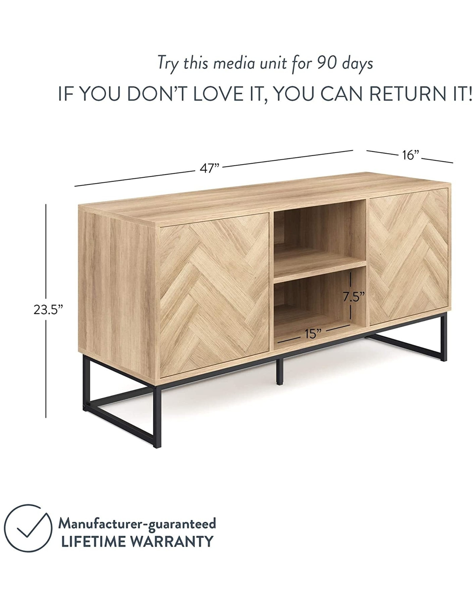 Nathan James Nathan James Dylan Media Console Cabinet or TV Stand with Doors for Hidden Storage in a Natural Reclaimed Herringbone Wood Pattern and Metal, Oak/Matte Black