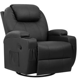 Pawnova Pawnova PU Leather Chair with Massage Function, Adjustable Home Theater Single Recliner Thick Seat and Backrest, 360degreeSwivel and Rocking Sofa for Living Room, Black